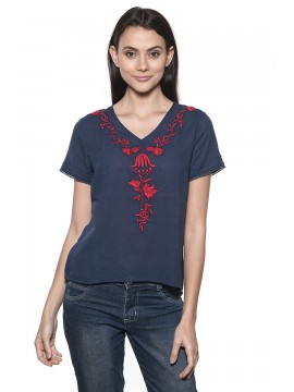 Top Manches Courtes Nossa! Navy Brodé Rouge