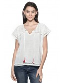 Blouse Manches Courtes Nossa ! Broderie Anglaise Blanche