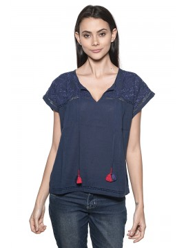 Blouse Manches Courtes Nossa ! Broderie Anglaise Navy