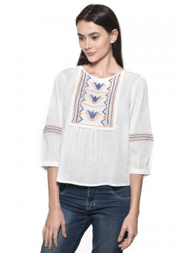 Blouse Ample Nossa! Blanche Brodée Multi Color
