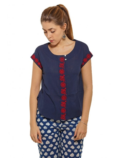 Blouse Nelly Navy Brodée Rouge